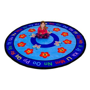 Tapis rond - Papillons Chiffres & Lettres